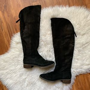 Genuine goat leather Tall black boots